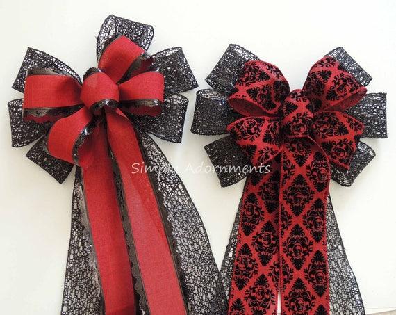 Burgundy Black Damask Christmas Wreath Bow Red black Christmas Tree Topper Bow Dark Red Black Swag Bow Wedding Aisle Bow Red Black Chair Bow