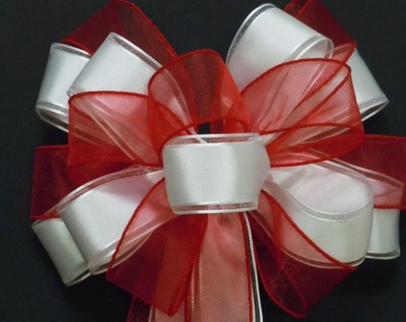 Red White Graduation Party Decor Red White Wreath Bow Church Pew Bow Wedding Ceremony Decor Bridal Shower Red White Party Decor Gift Bow