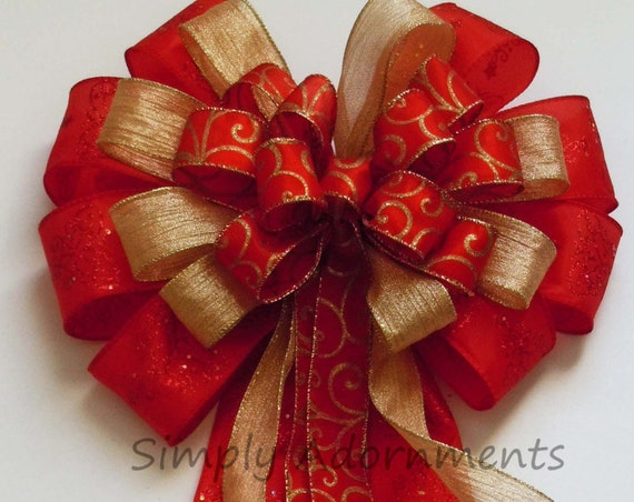 Red Gold Christmas Bow Red and Gold Christmas Tree Topper Bow Red Filigree gold Victorian Tree Bow Winter Holidays Door Bow Gift Topper Bow