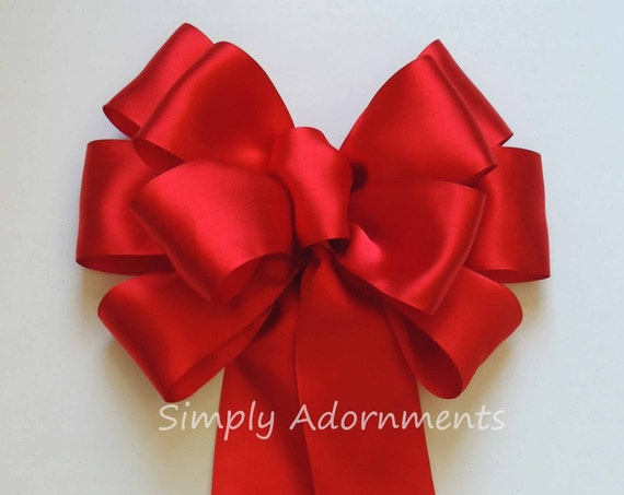 Red Wedding Church Pew Bow Red Wedding aisle Bow Red Wreath Bow Red Valentine Wedding Chair Bow Red Door hanger Bow Red handmade Gifts Bow