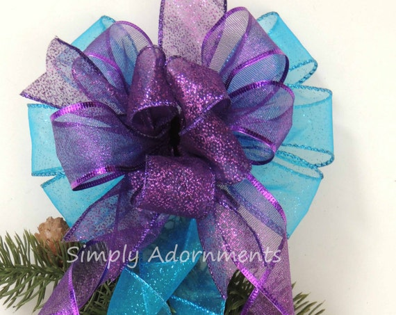 Purple Turquoise Christmas Bow Turquoise Purple Winter Holidays Gift Bow Peacock Christmas Lantern Bow Peacock Blue Purple Swag Wreath Bow