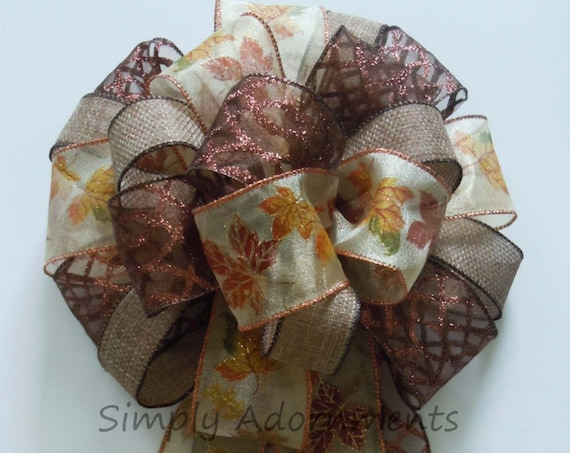 Maples Leaves Fall Wreath Bow Brown Wedding Bow Fall Leaves Wreath Bow Thanksgiving Wreath Bow Fall Gift Bows