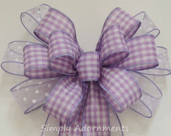 Lavender purple Gingham Bow Purple Lavender Wreath Bow Spring Easter Wreath Bow Lavender Gift Bow Pastel Purple 1st Birthday Party Decor