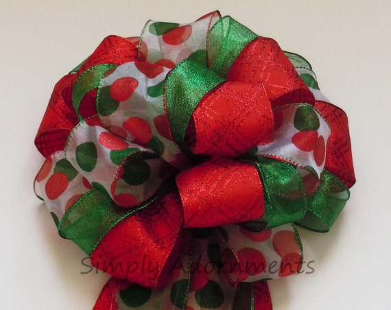 Red Kelly Green Christmas Tree Bow Red Green Holidays Bow Christmas Tree Topper Polka Dots Christmas Wreath Bows Holiday Dots Tree Bow