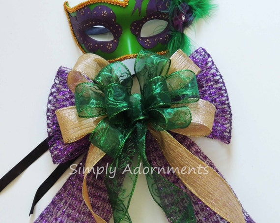 Mardi Gras Christmas Wreath Bow Purple Gold Green Wreath Swag Bow Mardi Gras Gift Bow Mardi Gras Door Hanger Decoration Mardi Gras Pew Bow