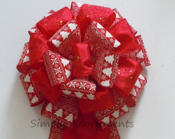 Red White Christmas Bow Red White Christmas Tree Topper Bow Christmas Wreath Bow Tree Topper Bow Winter Holiday Handmade Gift Bow Door Bow