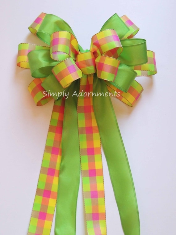 Pink Lime yellow Spring Plaid Bow Yellow Lime Easter Wreath Bow Spring Plaid Wreath Bow Door Hanger Bow Yellow Green Plaid Bridal Shower
