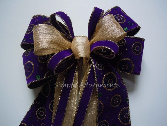 Purple gold shower Velvet Purple Gold Door Wreath Bow Purple gold Mardi Gras Gift Bow Mardi Gras Christmas Wreath Bow Mardi Gras Party decor