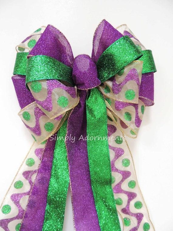 Mardi Gras Wreath Bow Fat Tuesday Wreath bow Mardi Gras Christmas Bow Purple Gold Green Bow Mardi Gras Christmas Tree Bow Large Gift Bow
