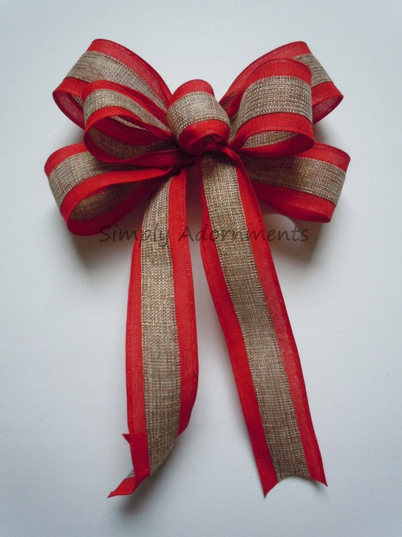 Rustic Natural Red Burlap Bow Rustic Burlap Cottage Bow Christmas Door hanger Bow Burlap Ornament Bow Burlap Winter Holiday Gift Wrap Bow