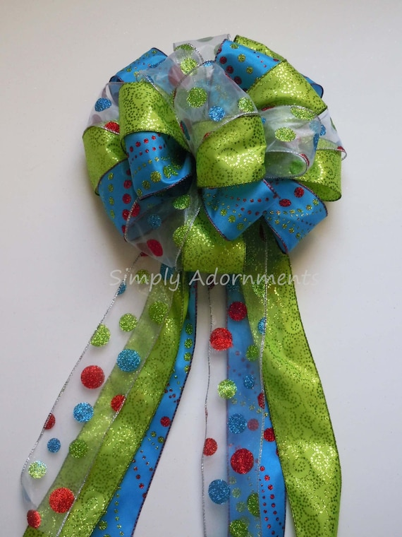 Green Blue Christmas Bow Blue Green Christmas Tree Topper Bow lime Turquoise Christmas Tree Bow Christmas Wreath Swag Bow large Gift  Bow