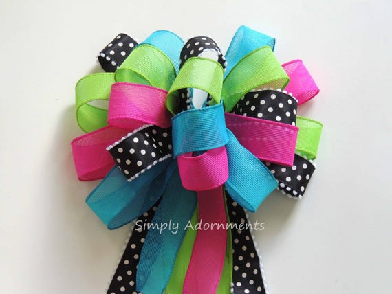 Pink Blue Green Spring Wreath Bow Pink Turquoise Lime black Birthday Party Decor Hot pink Blue Green Pew Bow Pink Lime Baby Shower Gift Bow