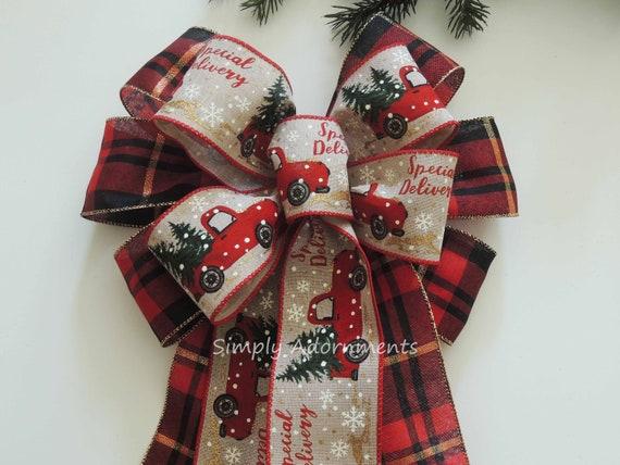 Hunter green Plaid Christmas Bow Christmas Tree Bow Christmas Plaid Wreath Bows Lantern Bow Green Blue Cabin plaid Christmas Wreath Bows