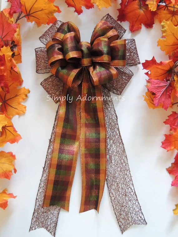 Brown Bronze Tartan Bow Fall Plaid Wreath Bow Fall Wedding Pew Bow Thanksgiving Wreath Bow Fall Autumn Wedding Church Pew Bow Fall Door bow