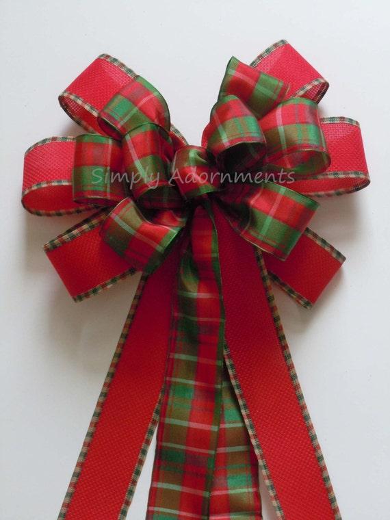 Red Green Plaid Bow Christmas Plaid Bow Plaid Wedding Pew Bow Traditional Red Green Plaid Christmas Wreath Christmas Tree Bow Plaid Gift bow