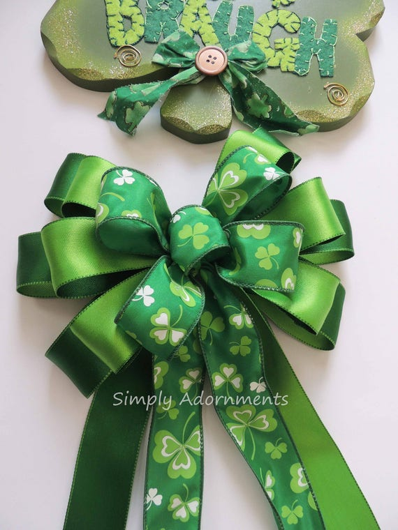 Saint Patrick's Wreath Bow Lime Kelly St. Patrick's Wreath Bow Emerald Lime Irish Shamrock Bow St Patrick door hanger bow Shamrock Swag Bow