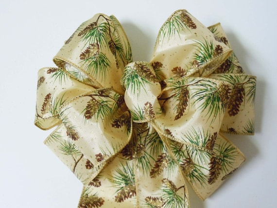 Gold Brown Pinecones Christmas Bow Pine Cone Christmas Wreath Bow Ivory Gold Pine Cone Door Hanger Bow Winter Pine Cones Wedding Pew Bow