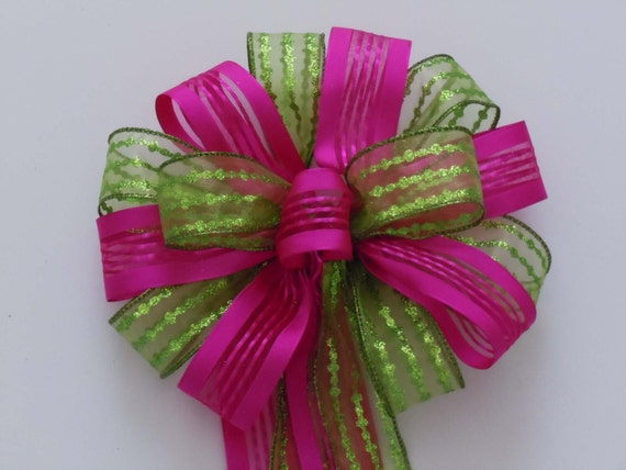 Green Pink Birthday Decoration Bow Spring Easter Wreath Bow Church Aisle Bow Baby / Bridal Shower Decorative Bow Gift Bow