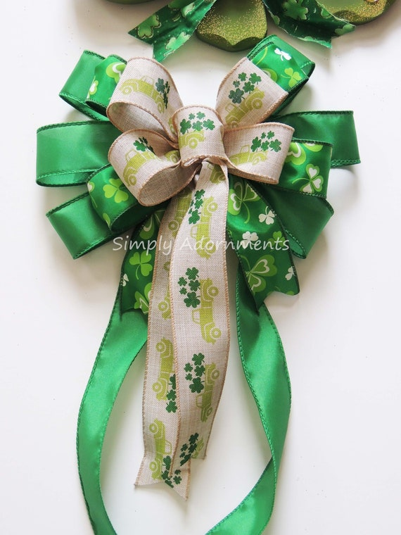 JANOU St Patricks Day Party Decorations 11.4x17.7 in Patricks Day Wreath Bow Green Shamrock Bowknot Irish Holiday DIY Crafts Gift Ribbon Bow Ornaments for St