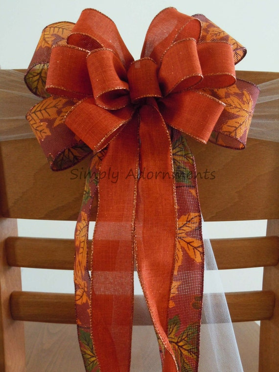 Burgundy Burnt Orange Burlap Bow Thanksgiving Burlap Wreath Bow Maple Leaves Fall Burlap Bow Fall Burnt Orange Bow Fall Party Decoration