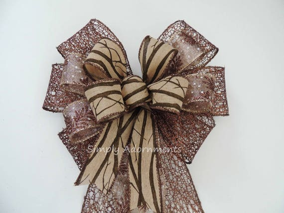 Twig Wreath bow Brown Fall Door Hanger Bow Brown Fall Wedding Bow Fall Twig Thanksgiving Bow Brown Fall Leaves Bow Fall Autumn Home Decor