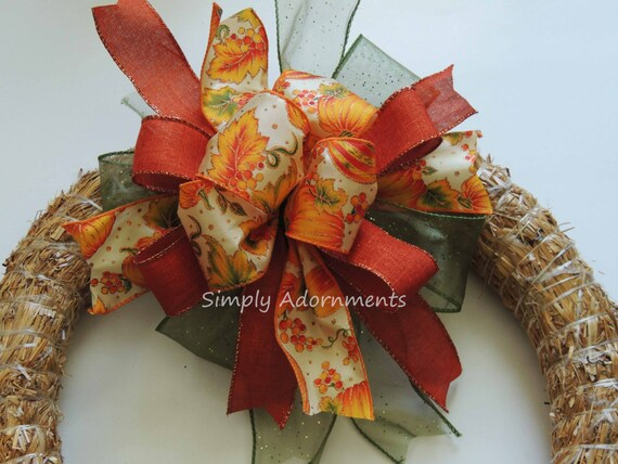 Pumpkin Lantern Bow Pumpkin Thanksgiving Wreath Bow Harvest Pumpkin wreath Bow Harvest Pumpkin Fall Bow Fall Autumn Pumpkin Door Hanger Bow