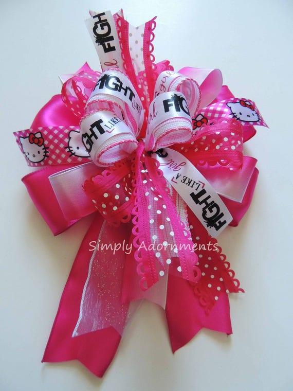 Breast Cancer Awareness Bow Cancer Awareness Bow October Pink Ribbon Bow Pink October Awareness Wreath Bow Breast cancer Awareness Swag bow