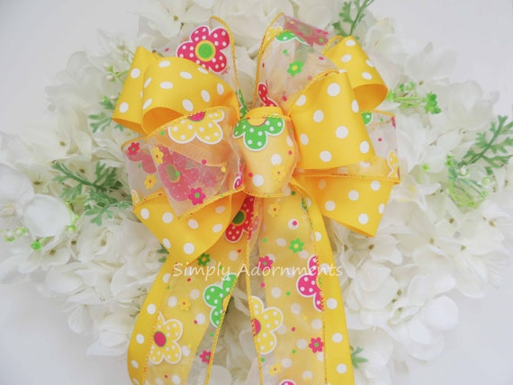 Yellow Spring Flowers Bow Yellow Wreath Bow Yellow Easter Wreath Bow Yellow Dots Flowers Birthday Party decor Pink Yellow Shower Party Decor