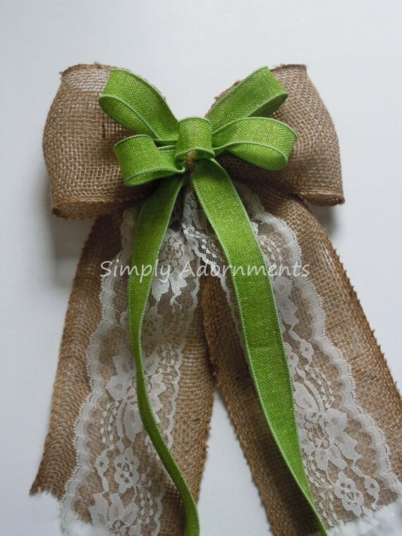 Green burlap Wedding Bow Lime Burlap and Lace Wedding Aisle Bow Ivory Ivory Burlap Lace Bow Burlap Lace Burlap Country Wedding Ceremony Bow