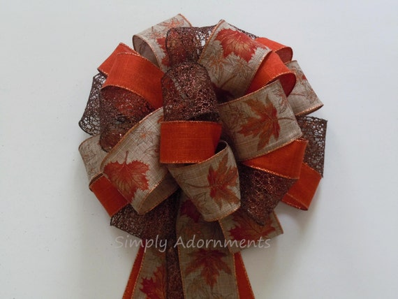 Rustic Fall Wreath Bow Burnt Orange Maple Leaves Wreath Door Bow Thanksgiving Wreath Swag Bows Fall Door bow Fall Country Wedding Bows