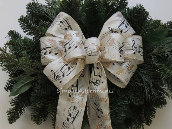 Music Themed Christmas Ornaments.Ivory Gold Music Sheet Bow Musical Christmas Wreath Bow