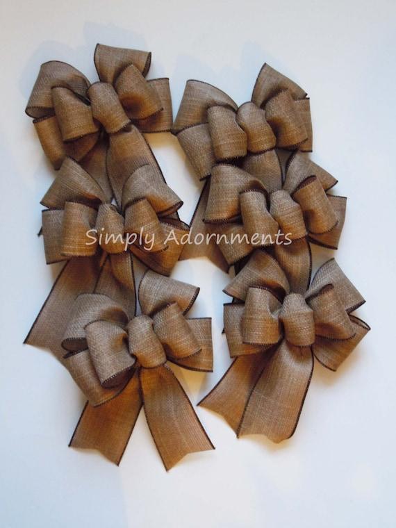 6 Mini Burlap Bow Burlap Ornament Bows Burlap Gift Bow Christmas OrnamentTree Bows Swag Bows Mini Wreath Swag Bow