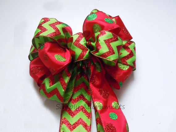 Red Lime Christmas bow Red Green Christmas Wreath Bow Chevron Polka Dots Red Green Bow Glitter Red Green Christmas Tree Bow Swag Door Bow