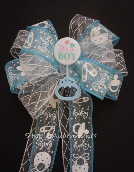 It's a Boy Shower Baby Boy Shower Blue white Baby shower Gift Bow Blue Baby Announcement Party Decor Its a Boy Wreath Bow