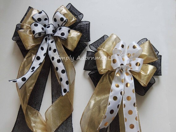 Black Gold Graduation Wreath Bow Black Gold grad Party Decor Gold Black Wedding Pew Bow Black Gold Grad Party Decor Graduation Gift wrap Bow