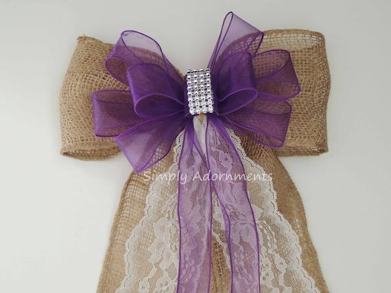 Rustic Burlap Purple Lace Wedding Bow Purple Burlap Lace Wedding Bow Shabby Chic Lace Burlap Church Aisle Pew Bow Ceremony Burlap Chair Bow