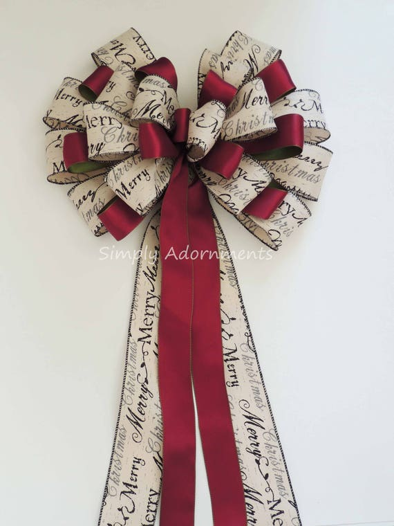 Rustic Burgundy Ivory Christmas Topper Bow Burgundy Ivory Holiday