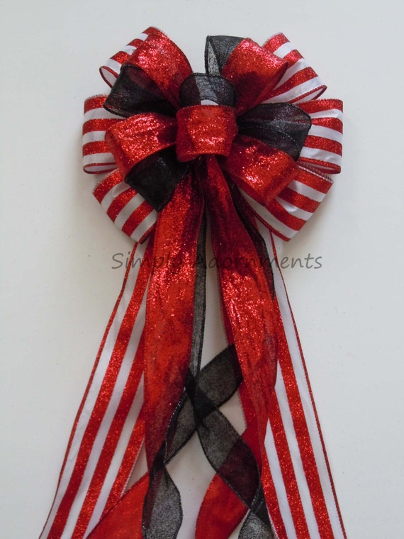 Black Red Wired Ribbon Bow Black and Red Birthday Party | Etsy