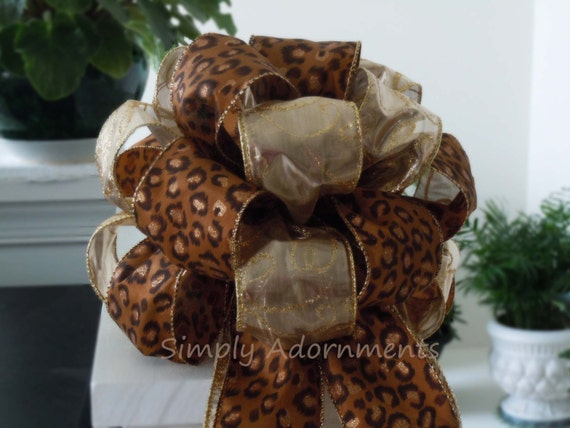 Gold Brown Leopard Bow Leopard Christmas Tree Top Bow Leopard Safari Christmas bow Wedding Decoration Leopard Gift Bow