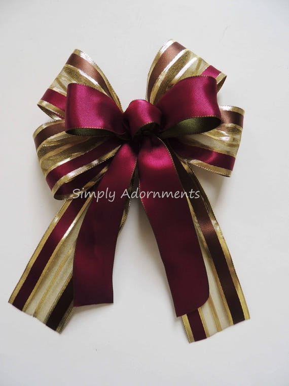 Burgundy Gold Bow Burgundy Gold Wreath Bow Burgundy Red Marsala Gold Party decoration Burgundy Christmas Lantern Bow Burgundy Gift Bows