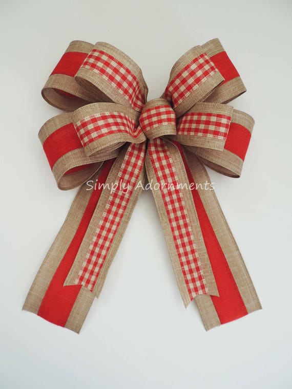 Vintage Red Check wreath bow Rustic Gingham Red Gift Bow Primitive Red Check Burlap Tree Bow Rustic Red Check Wreath Bow Door Hanger Bow