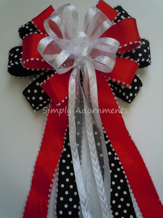 Red Black White Wreath Bow Red black white Birthday Decor Red Black White Birthday Party Decor Black White Red Wedding Pew Bow Chair Bow