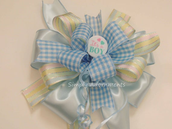 Blue check Baby Boy shower Bow It's a Boy Baby Shower Party Decoration  Bow Blue birthday Party decor Blue Gingham Baby Shower Gift Bow
