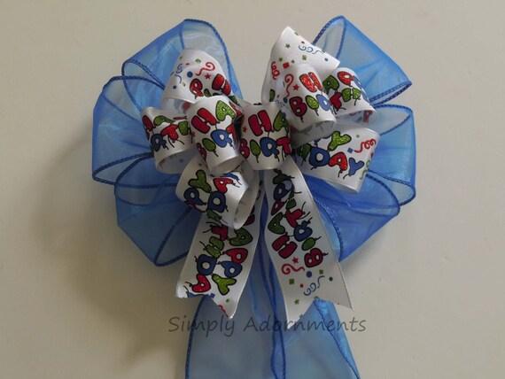 Blue Happy Birthday Scripts Bow Multi-colored Happy Birthday Gift Bow Happy Birthday Party Decor Bow Birthday Bow Handmade Birthday Gift Bow