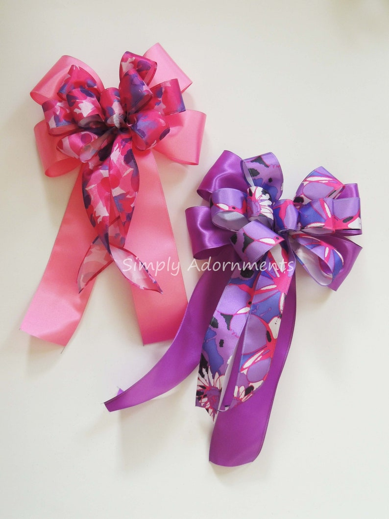 Pink Purple Spring Accent Bow for Wreath Door Hanger Bow Handmade custom Bow Pink Purple Birthday Gift bow Pink Purple Easter Wreath Bows