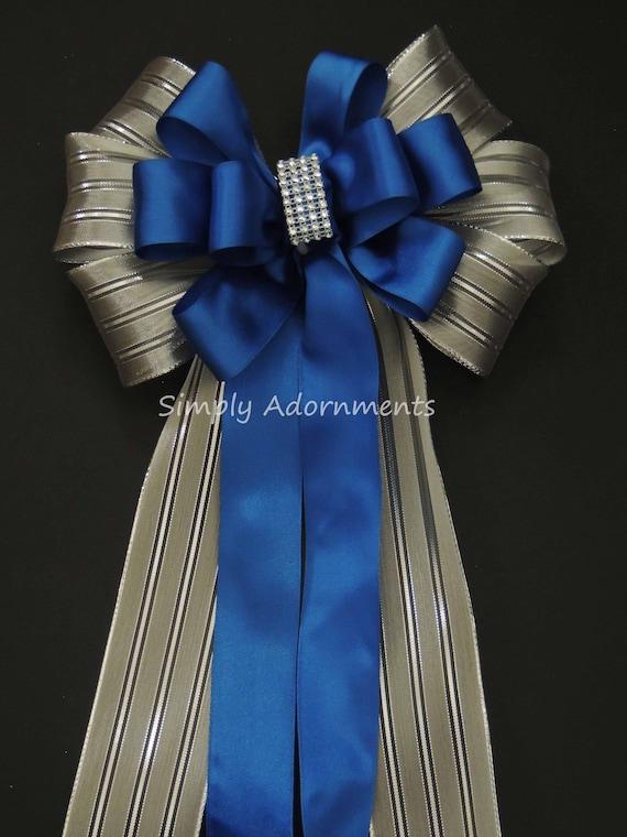 Blue Silver Christmas Decor Royal Blue Silver Wedding Pew Bow Royal Cobalt Blue Silver Birthday Party Ceremony Chair Bow Wedding Aisle Decor