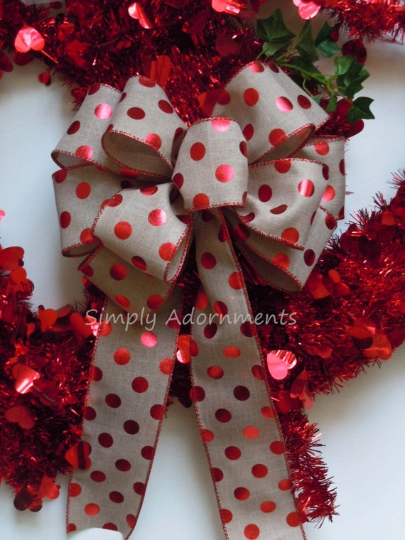 Metallic red dots burlap Valentine Wreath Bow Metallic Red Christmas Polka Dots Wreath Bow Burlap Polka Dots Red Bow Christmas Bow Gift Bow