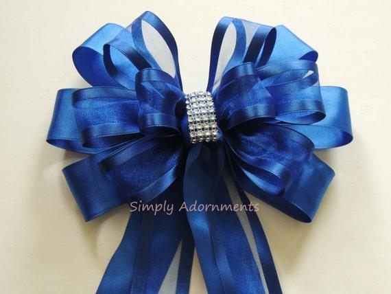 Blue Silver Christmas Decor Royal Blue Silver Wedding Pew Bow Royal//Cobalt Blue Silver Birthday Party Ceremony Chair Bow Wedding Aisle Decor
