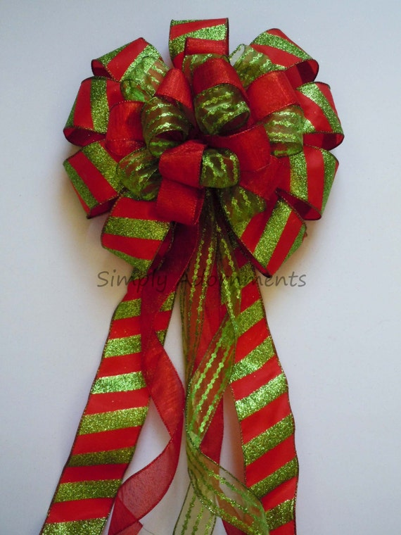 Red Lime Christmas Bow Red Green Tree Topper Bow Red Green Christmas Candy Canes Topper Tree Top Bow Xlarge Wreath Bow Christmas Door Bow