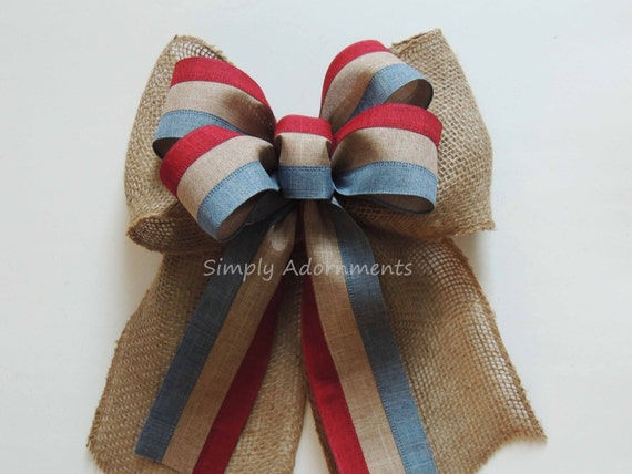Vintage Burlap July 4th Wreath Bow Patriotic Rustic Burlap Bow Fourth of July Bow July 4th Decor Bow Independence Wreath Bow Patriotic Bow